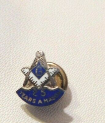 Vintage Masonic pin, 25 years a Mason, sterling silver