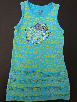 Hello Kitty Sleeveless Girls Soft Cotton Jersey Dress Aqua Blue w/Hearts (6)
