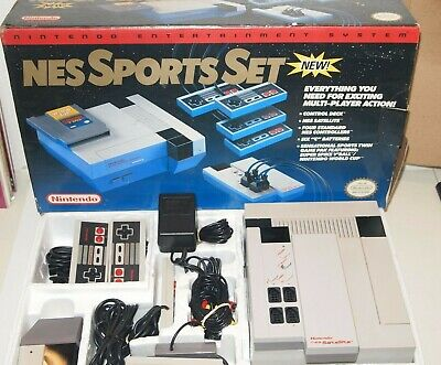 Nintendo Entertmnt NES SPORTS SET Console w/ satellite COMPLETE IN BOX! Tested