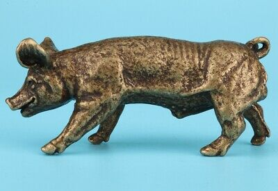 China Old Bronze Hand-Cast Pig Figurines Statue Auspiciou Gift Collection