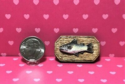 Dollhouse Miniature Fish Mounted on Wood - 1:12 Scale-Can be 1:6 (Larger Fish)