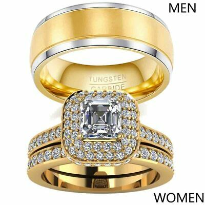 Yellow Gold Filled Couple Rings Tungsten Mens Band Princess cut CZ Womens Ring