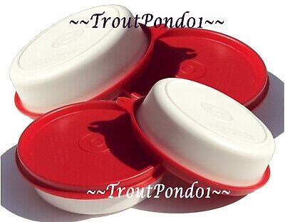 TUPPERWARE Set 4 Lunch Box Little Wonder Bowls 6 oz White Containers Red Seals
