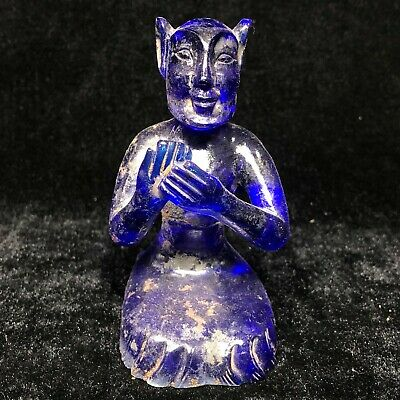 Collectible Chinese Old Vintage Blue Coloured Glaze Handwork Figure Statue C5