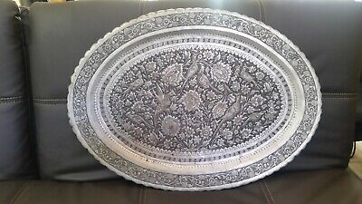 """Antique 19th Persian Isfahan tin coated copper hand carved tray 20""""x28"""" oval"""