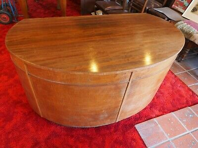 Antique Art Decco Glass Top Oval Desk