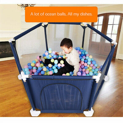 Baby Playpen by Millhouse 6 Sides Round Zipper Door Play Pen for Toddlers UK