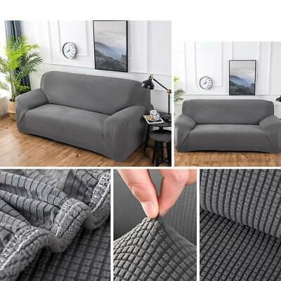 1-3 Seater Sofa Settee Covers Couch Slipcovers Stretch Elastic Fabric Grey UK