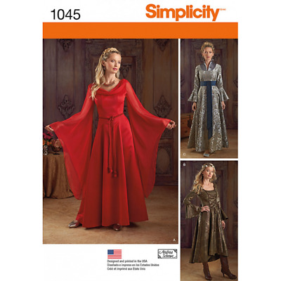 Simplicity Misses' Fantasy Costumes Gowns Cosplay Sewing Pattern 1045