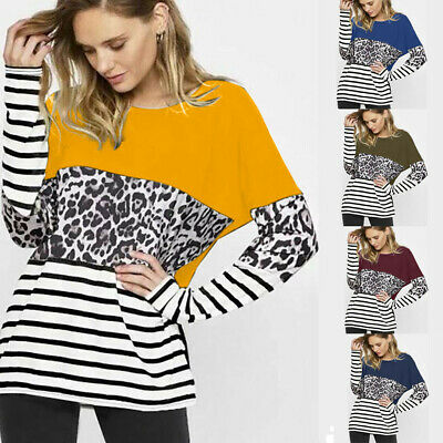Women's Long Sleeve Tops T-Shirt Ladies Loose Leopard Striped Pullover Blouse