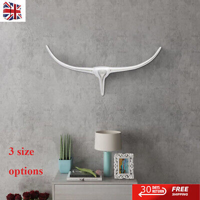 Wall Mounted Aluminium Bull's Head Decoration Silver Statue Living Room 3 Sizes