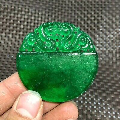 Chinese Green Jadeite Jade Carved Double Dragon Handwork Collectible Pendant C5