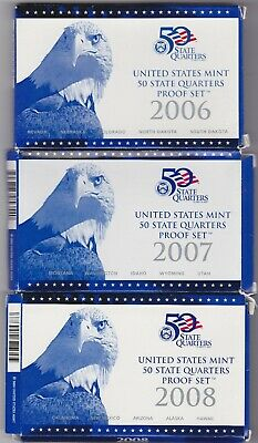 Boxed & Cased 2006/2007/2008 Usa State Quarter Dollar Proof Sets With Certs