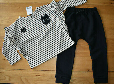 BNWT NEXT 2-3 years girls CAT TOP BLACK TROUSERS/JOGGERS SET/OUTFIT