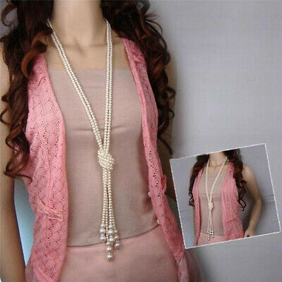 Fashion White Pearl Chain Chunky Choker Statement Pendant Knotted Necklace LG