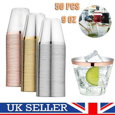 Disposable Plastic Cup Tumbler Wine Party Wedding Juice Champagne Cocktail Xmas