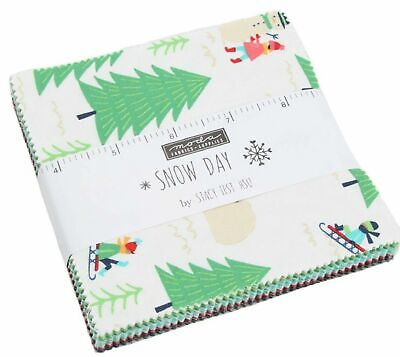 "Moda Precut Charm Pack ""SNOW DAY"" #20630 PP Christmas Quilt Fabric"