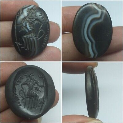 Old Ancient Wonderful Unique Sassanian King Agate intaglio seal Stamp Stunning