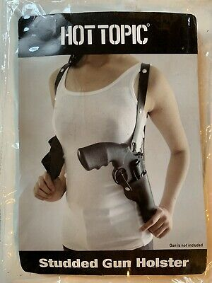 Studded Gun Holster Cross Back Black Faux Leather Costume Cosplay Hot Topic