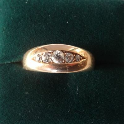 Antique Victorian English Hallmarked 18Ct Solid Gold Five Stone Diamond Ring,