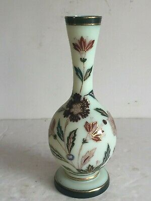 Antique Hand Painted Victorian Bristol Vaseline Uranium Art Glass VASE 7 3/4""