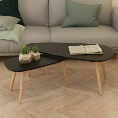 Vidaxl 2x Table Basse Bois De Pin Massif Noir Table De Salon