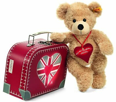 Steiff Patriotic 'True Brit' Fynn Brexit Teddy Bear in a British Suitcase,664199