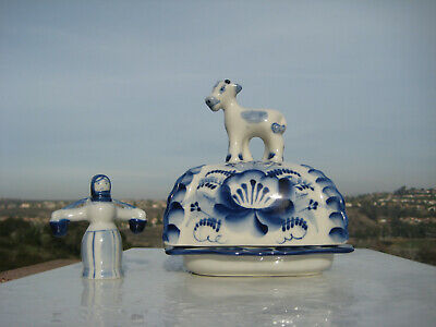 Russian Gzhel Blue White Porcelain Hand Painted Cow Butter Dish & Girl Figurine