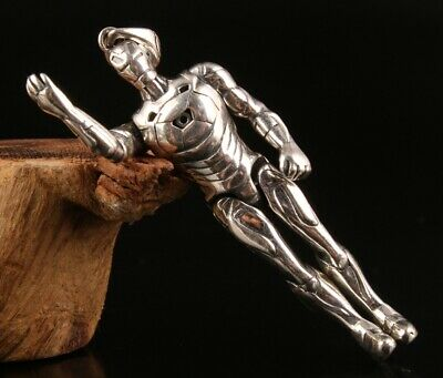Chinese Solid Silver Hand-Carved Iron Man Statue Cool Pendant Collection