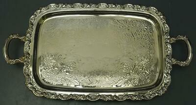 "Ornate Repousse Silverplate Rectangular Footed Serving Platter 25""x13.5""x2.5"""