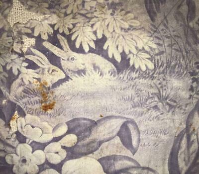 BEAUTIFUL TIMEWORN 19th CENTURY FRENCH TOILE DE JOUY RABBITS SQUIRREL EAGLE