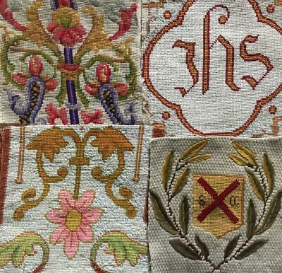 4 FRAGMENTS 19th CENTURY VICTORIAN BERLIN WOOLWORK NEEDLEWORK, PROJECTS REF 223