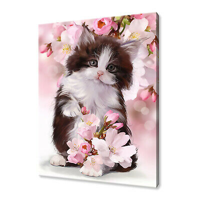 Beautiful Kitten Magnolia Flowers Painting Style Canvas Print Wall Art Picture