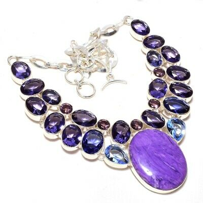 .925 Solid Silver FACETED IOLITE LADIES/' EXTRA ORDINARY Necklace 18.5 Inches NEW