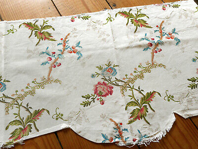 Antique French Floral Laurel Leaf Linen Fabric ~ Soft Raspberry Red Pink Blue
