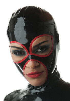 Latex Catsuit Rubber Gummi Big Eyes Red Seam Sexy Cool HoodMask Customized .4mm