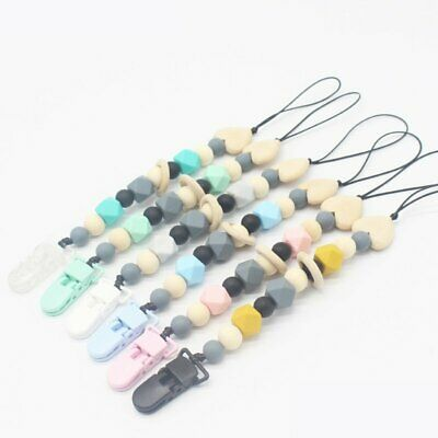 Dummy Clip Holder Pacifier Clips Soother Chains Silicone Bead Baby Teething