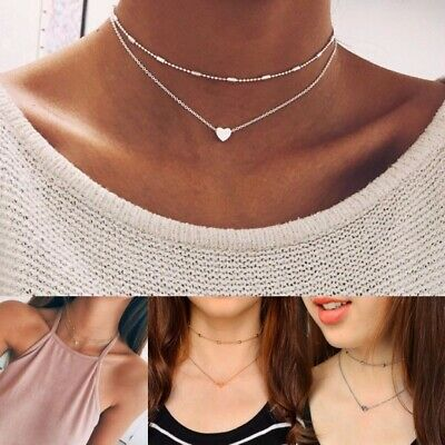 Simple Double layers chain Heart Pendant Necklace Choker Women Fashion Jewelry