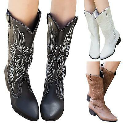 Women Cowboy Boots Embroidery Mid Calf Pointed Toe Cowgirl Low Block Western