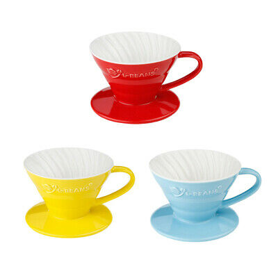 V60 Ceramic Pour Over Coffee Dripper Paper Filter Cup Cone for 1-2 Cups