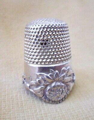 Antique 19thC McKeen Sterling Silver Chrysanthemum Thimble sz10