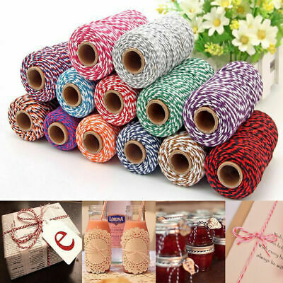 100m Cotton Cord Bakers Coloured Twine Bundle String Ribbon Gifts Wrapping Craft