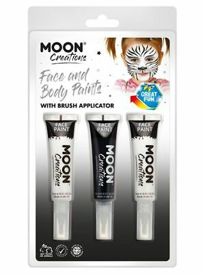 NEW Moon Creations Face & Body Paint and Brush,Black & White Smiffys Kids Makeup