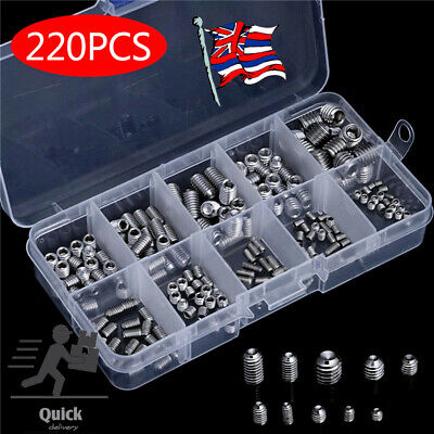 220X Stainless Steel Allen Head Socket Hex Grub Screws Assortment Point Cup Set