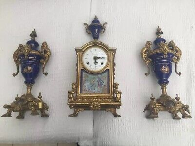 Mantel clock, 2 garnitures, cast brass & blue porcelain,  Brevettato no 6935-879