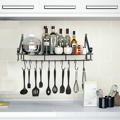 Kitchen Utensils Shelf Folding Wall Hanging Racks Pot Holder With 10 Hooks Up