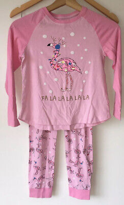 Girls Pink Christmas Pyjamas Age 9 Matalan  <NZ4363