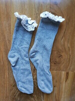 GEORGE GIRLS Cotton Rich Pretty Socks grey BRAND NEW SIZE 12-2