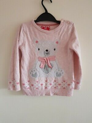 Girls Primark Pink Polar Bear Christmas Jumper 2-3 <EE1948