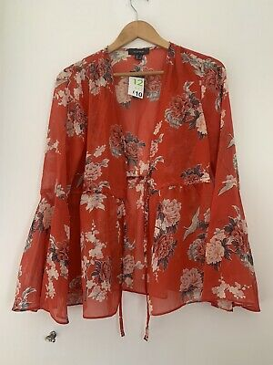 Ladies Kimono 12 Primark Red Floral BNWT Long Sleeve Polyester <JS2977
